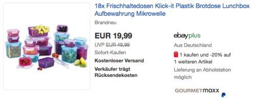 GOURMETmaxx 18x  Klick-it  Frischhaltedosen, BPA frei - jetzt 20% billiger