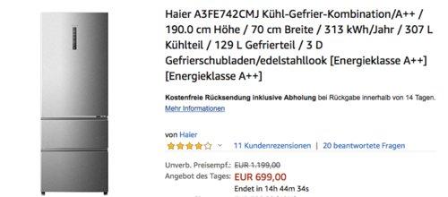 Haier A3FE742CMJ Kühl-Gefrier-Kombination, 190 cm hoch - jetzt 10% billiger