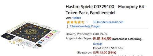 Hasbro Spiele C0729100 - Monopoly 64-Token Pack, Familienspiel - jetzt 19% billiger