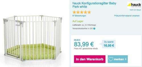 """hauck Konfigurationsgitter """"Baby Park"""", weiß - jetzt 13% billiger"""