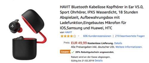 HAVIT TWS V5.0 Bluetooth In-Ear-Kopfhörer G1 - jetzt 20% billiger