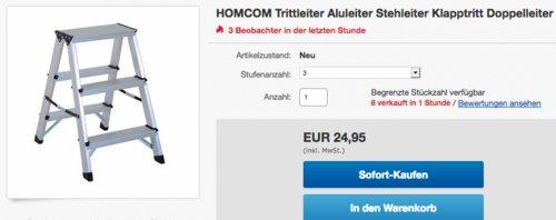 HOMCOM Trittleiter/Aluleiter mit  3 Stufen - jetzt 24% billiger