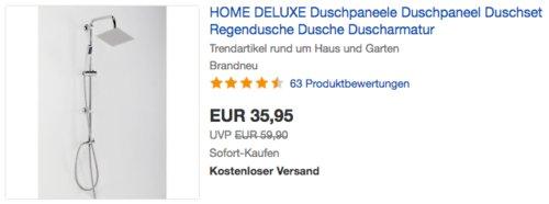 Home Deluxe - DS-FRESH Regendusche inkl. komplettem Zubehör - jetzt 18% billiger