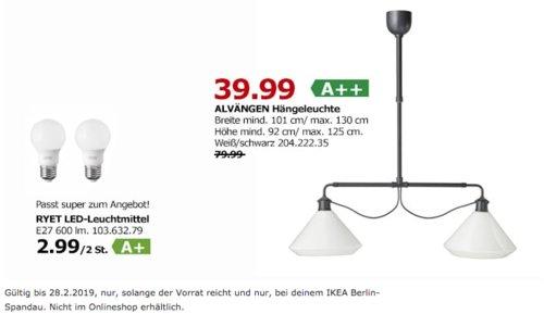 IKEA Berlin-Spandau - ALVÄNGEN Hängeleuchte, weiß/schwarz - jetzt 50% billiger