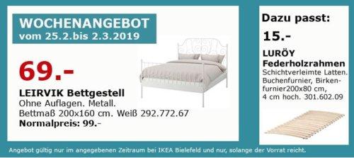 IKEA Bielefeld - LEIRVIK Bettgestell, weiß, 200x160 cm - jetzt 30% billiger