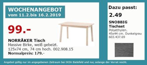 IKEA Bielefeld - NORRAKER Tisch 125x74 cm - jetzt 45% billiger