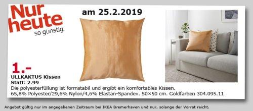 IKEA Bremerhaven - ULLKAKTUS Kissen, goldfarben, 50x50 cm - jetzt 67% billiger