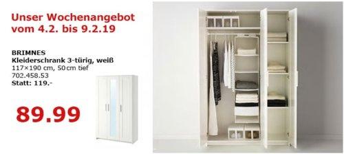IKEA BRIMNES Kleiderschrank 3-türig, weiß - jetzt 17% billiger