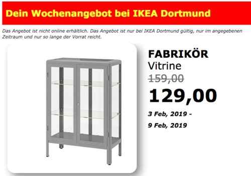 IKEA Dortmund - FABRIKÖR Vitrine, grau - jetzt 19% billiger