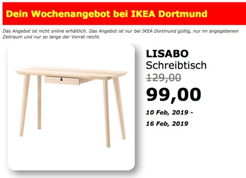 IKEA Dortmund - LISABO Schreibtisch,Eschenfurnier, 118x45 cm - jetzt 23% billiger