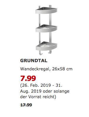 IKEA Frankfurt - GRUNDTAL Wandeckregal, 26x58 cm - jetzt 56% billiger