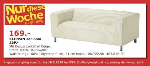 IKEA Großburgwedel - KLIPPAN 2er-Sofa, beige - jetzt 23% billiger