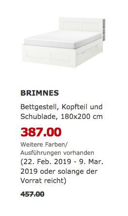 IKEA Hamburg-Schnelsen - BRIMNES Bettgestell mit Kopfteil und Schubladen, weiß - jetzt 15% billiger