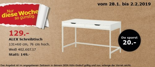 IKEA Köln-Godorf - ALEX Schreibtisch, weiß - jetzt 13% billiger