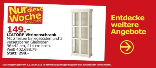 IKEA Magdeburg - LIATORP Vitrinenschrank, weiß - jetzt 50% billiger