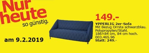 IKEA Oldenburg - YPPERLIG 2er-Sofa, schwarzblau - jetzt 40% billiger