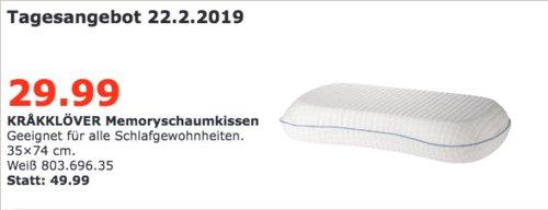 IKEA Regensburg - KRAKKLÖVER Memoryschaumkissen, weiß, 35x74 cm - jetzt 40% billiger