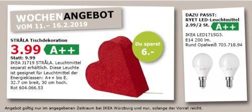 IKEA STRALA Elektro-Tischdekoration Herz, rot - jetzt 60% billiger