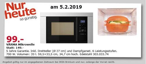 IKEA VÄRMA Mikrowelle, Edelstahl, 20 l - jetzt 34% billiger