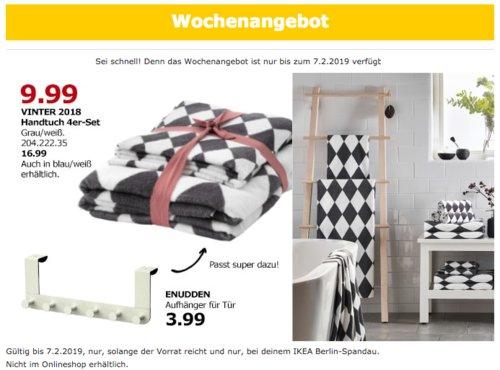 IKEA VINTER 2018 Handtuch 4er-Set, grau/weiß - jetzt 41% billiger