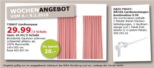 IKEA Würzburg - TIBAST Gardinenpaar, rosa, 145x300 cm - jetzt 40% billiger
