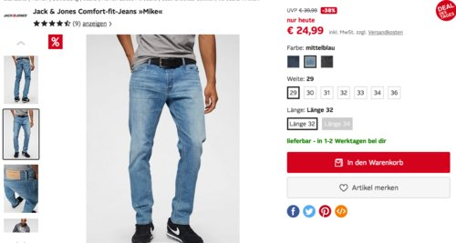 """Jack & Jones Comfort-fit-Jeans """"Mike"""" in verschiedenen Farben und Größen - jetzt 14% billiger"""