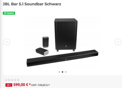JBL 5.1-Kanal 4K Ultra HD-Soundbar mit kabellosen Surround-Lautsprecher und Subwoofer, schwarz - jetzt 8% billiger