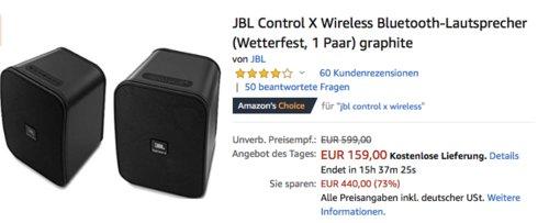 JBL Control X Wireless Bluetooth-Lautsprecher 1 Paar, verschiedene Farben - jetzt 26% billiger