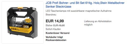 JCB Profi 61-tlg. Bohrer- und Bit Set inkl. LED Taschenlampe - jetzt 67% billiger