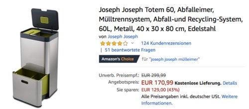 Joseph Joseph Totem 60 Abfall-und Recycling-System, 60L, 40 x 30 x 80 cm, Edelstahl - jetzt 5% billiger
