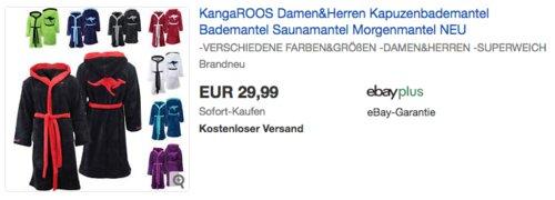 KangaROOS Damen&Herren Kapuzenbademantel/Morgenmantel - jetzt 18% billiger