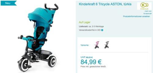 Kinderkraft 2in1 Dreirad Aston in Pink, Türkis oder Grau - jetzt 6% billiger