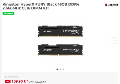 Kingston HyperX FURY Black 16GB (2x 8 GB) DDR4 2.666MHz RAM KIT - jetzt 7% billiger