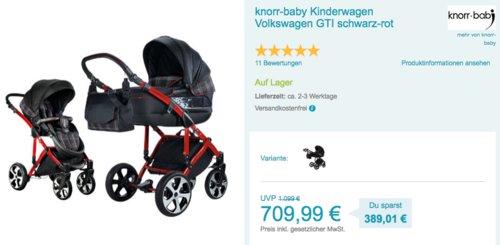 knorr-baby Kinderwagen Volkswagen GTI, schwarz-rot - jetzt 20% billiger