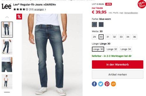 """Lee Herren Jeans """"Daren ZIP"""" in Blue-Worn oder Dark-Blue-Worn - jetzt 23% billiger"""