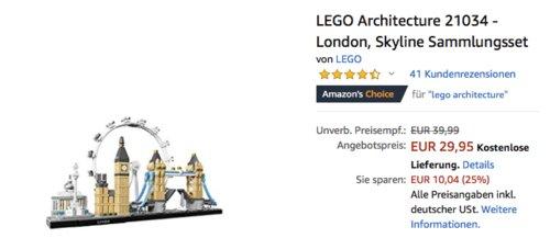 LEGO Architecture 21034 - London Skyline Sammlungsset - jetzt 14% billiger