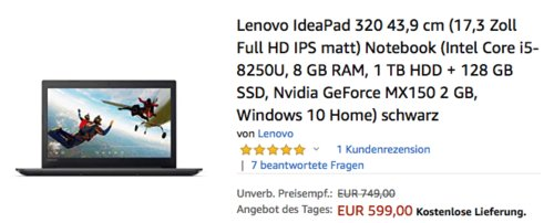 "Lenovo IdeaPad 320 17,3"" Full HD Notebook (81BJ0059GE), Intel Core i5, 8GB, 1 TB HDD + 128 GB SSD - jetzt 14% billiger"