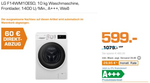 LG F14WM10ESO 10 kg Waschmaschine, A+++ - jetzt 10% billiger