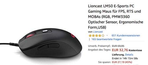 Lioncast LM50 E-Sports PC Gaming Maus - jetzt 34% billiger