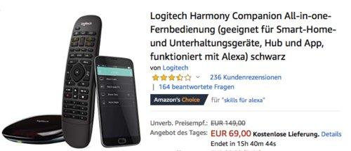 Logitech Harmony Companion All-in-one-Fernbedienung inkl. Hub und App, schwarz - jetzt 28% billiger