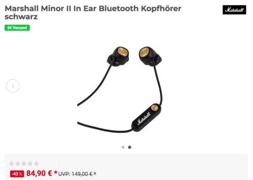 Marshall Minor II In-Ear-Bluetooth-Kopfhörer (1001893), schwarz - jetzt 11% billiger