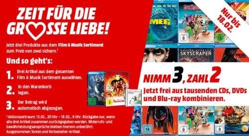 MediaMarkt -  NIMM 3 ZAHL 2 Aktion auf Film & Musik - jetzt 25% billiger