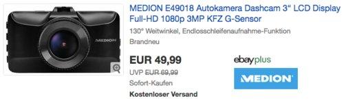 "MEDION E49018 3"" Full-HD Dashcam - jetzt 17% billiger"