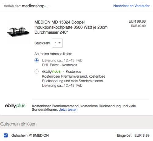 MEDION MD 15324 Doppel-Induktionskochplatte, 3500 Watt - jetzt 10% billiger