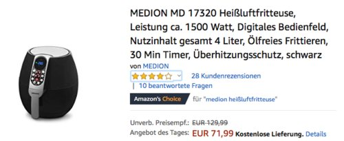 MEDION MD 17320 Heißluftfritteuse, 2,8 Liter Frittierkorb - jetzt 9% billiger