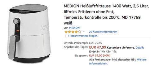 MEDION MD 17769 Heißluftfritteuse 1300 Watt, weiß - jetzt 20% billiger