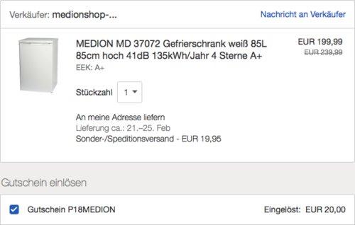 MEDION MD 37072 Gefrierschrank, 85 L, A+ - jetzt 9% billiger