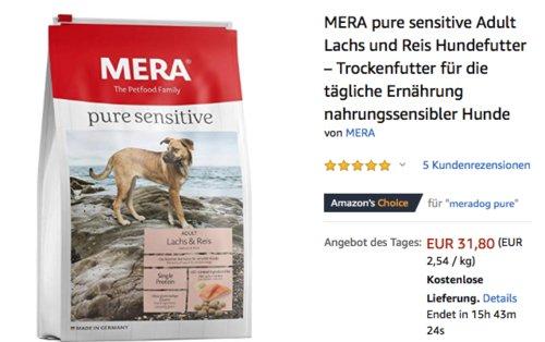 MERA pure sensitive Adult Lachs und Reis Hundefutter, 12,5 kg - jetzt 16% billiger