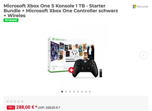 Microsoft Xbox One S Konsole 1 TB - Starter Bundle + Microsoft Xbox One Controller schwarz + Wireless Adapter für Windows - jetzt 12% billiger