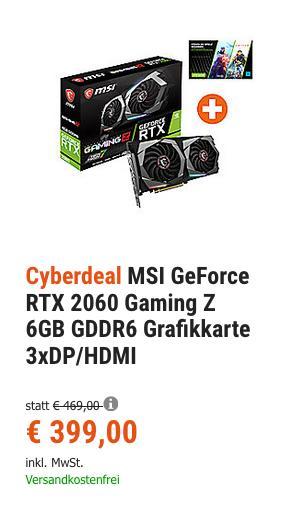 MSI GeForce RTX 2060 Gaming Z 6GB GDDR6 Grafikkarte inkl. PC-Downloadcode  für Battlefield V oder Anthem - jetzt 3% billiger